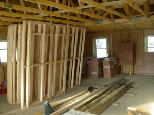 inside view of a new house under construction with timber joists