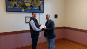 Coldstream junior football club receiving award